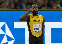 Athletics - 2017 IAAF London World Athletics Championships - Day One<br /> <br /> Event: Men's 100 Metres Qualifying <br /> <br /> Usain Bolt (JAM) Salutes the crowd <br /> <br /> <br /> COLORSPORT/DANIEL BEARHAM