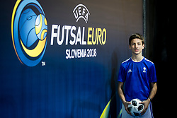 Ballboy during futsal match between Poland and Kazakhstan at Day 3 of UEFA Futsal EURO 2018, on February 1, 2018 in Arena Stozice, Ljubljana, Slovenia. Photo by Urban Urbanc / Sportida