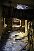 inside stairs of the Asinelli tower Bologna Italy