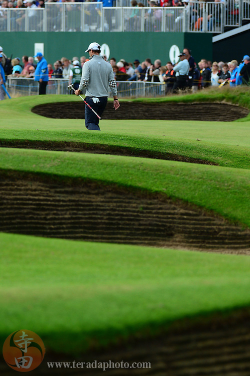 July 20, 2012; St. Annes, ENGLAND; Adam Scott walks to the green on the 18th hole during the second round of the 2012 British Open Championship at Royal Lytham & St. Annes Golf Club.
