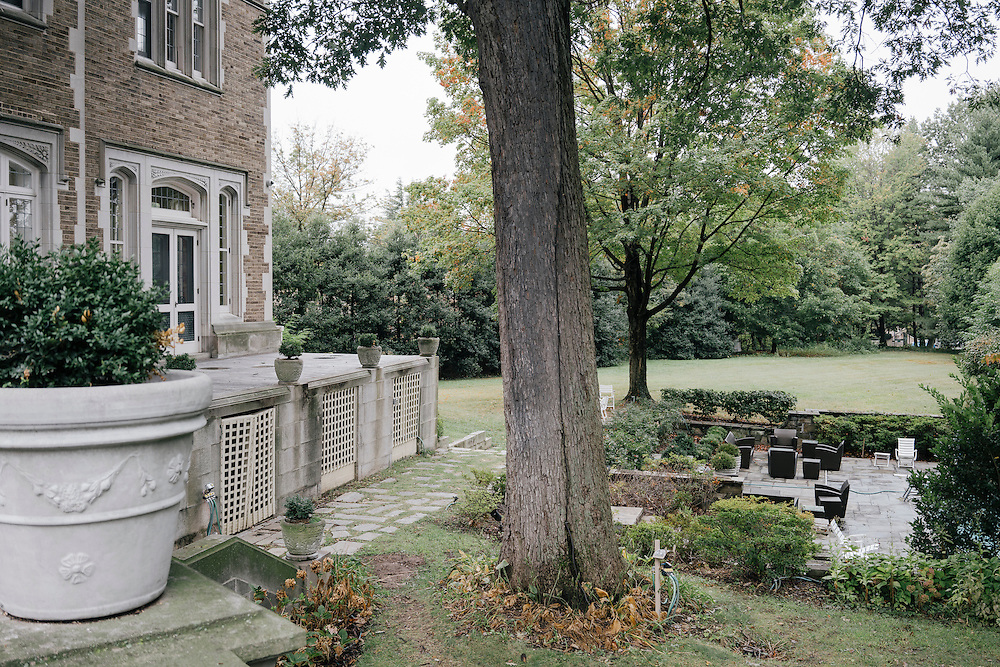 Back yard and porch of French Ambassador's residence in the Kalorama neighborhood of Washington D.C. France acquired the residence in 1936.