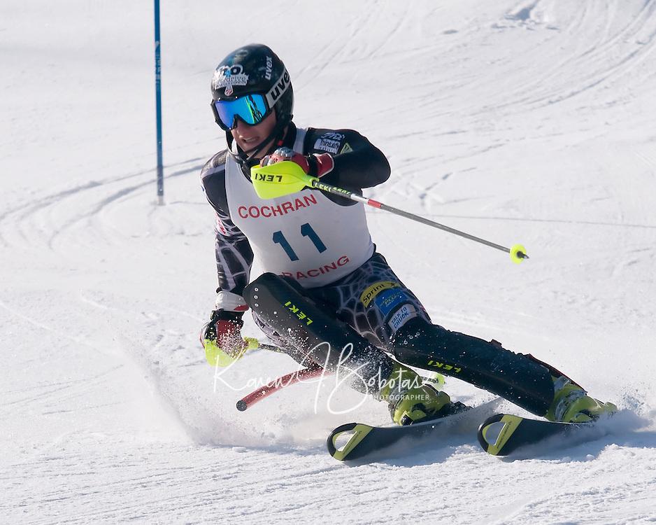 "US Ski Team's Tim Jitloff takes the number one spot during Cochran's Ski Club ""Thank God for Snowmaking"" race held Monday at Cochran's Ski Area in Richmond, VT.  Karen Bobotas/Photographer"