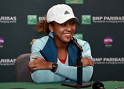 March 7, 2019 - Indian Wells, CA, U.S. - INDIAN WELLS, CA - MARCH 07: WTA tennis player Naomi Osaka (JPN) talks with the media on March 7, 2019 at the Indian Wells Tennis Garden in Indian Wells, CA. (Photo by John Cordes/Icon Sportswire) (Credit Image: © John Cordes/Icon SMI via ZUMA Press)