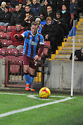 Gary McSheffrey of Scunthorpe United takes corner during the Sky Bet League 1 match between Scunthorpe United and Bradford City at Glanford Park, Scunthorpe, England on 21 November 2015. Photo by Ian Lyall.