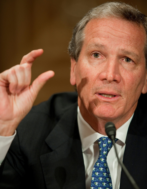 "May 5,2010 - Washington, District of Columbia USA - Former Bear Steans executive Alan D. Schwartz, former CEO, appears before the Financial Crisis Inquiry Commission (FCIC) public hearing titled ""The Shadow Banking System"" - the system of bank-like financial institutions and markets operating outside of the regulatory structure for traditional banking activities. ..The bi-partisan 10-member Financial Crisis Inquiry Commission was created by Congress and is charged with examining the causes of the financial meltdown. It is also examining causes of the collapse of major financial institutions that failed or would likely have failed had they not received exceptional government assistance...Findings and conclusions are to be presented in a formal report to Congress and the President by December 15, 2010. .(Credit Image: © Pete Marovich/ZUMA Press)"