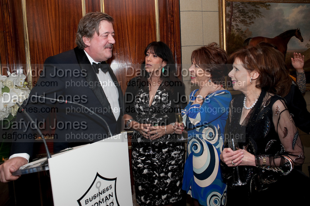 STEPHEN FRY; GAIL REBUCK; KATHY LETTE;  MARJORIE WALLACE, FOUNDER OF SANE,  Veuve Clicquot Tribute award dinner for Ruby Wax for her outstanding contribution to the greater understanding of mental illness in the UK. Berkeley Hotel, London. 25 November 2011.