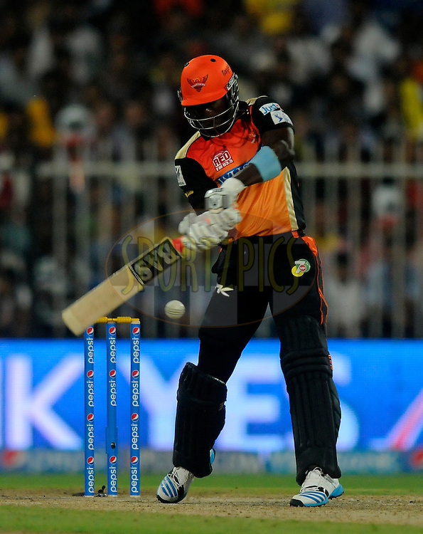 Darren Sammy of the Sunrisers Hyderabad bats during match 16 of the Pepsi Indian Premier League 2014 between the Delhi Daredevils and the Mumbai Indians held at the Sharjah Cricket Stadium, Sharjah, United Arab Emirates on the 27th April 2014<br /> <br /> Photo by Pal Pillai / IPL / SPORTZPICS