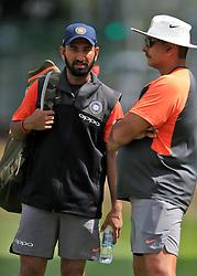 India's Cheteshwar Pujara (left) and head coach Ravi Shastri during a nets session at Edgbaston, Birmingham.
