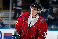 KELOWNA, CANADA - MARCH 9:  Cole Carrier #14 of the Kelowna Rockets warms up against the Kamloops Blazers on March 9, 2019 at Prospera Place in Kelowna, British Columbia, Canada.  (Photo by Marissa Baecker/Shoot the Breeze)