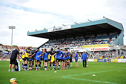 The Bath team huddle together prior to the match - Mandatory byline: Patrick Khachfe/JMP - 07966 386802 - 13/09/2015 - RUGBY UNION - Memorial Stadium - Bristol, England - Gloucester Rugby v Bath Rugby - West Country Challenge Cup.