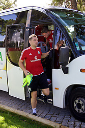 VALE DO LOBO, PORTUGAL - Friday, May 27, 2016: Wales' Sam Vokes arrives for training on during day four of the pre-UEFA Euro 2016 training camp at the Vale Do Lobo resort in Portugal. (Pic by David Rawcliffe/Propaganda)