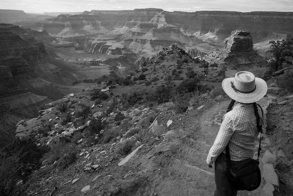 Hiking the Grand Canyon's Kaibab Trail, South Rim. Grand Canyon National Park, Arizona.
