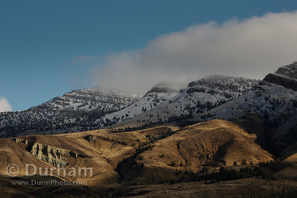 Snow frosted foothills of Sheep Rock within the John Day Fossil Beds National Monument, Oregon.