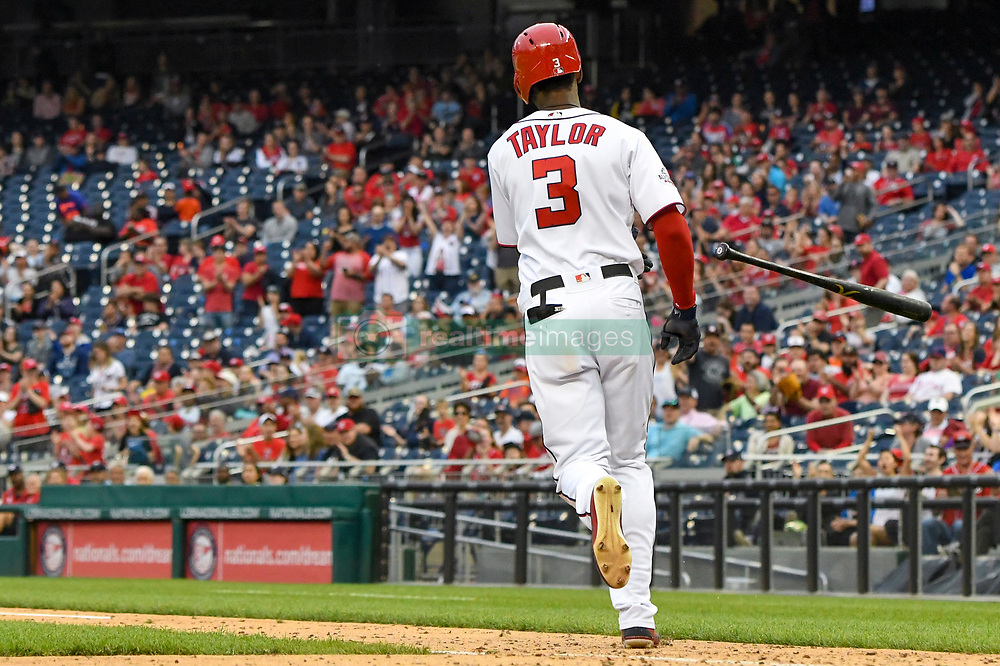 May 6, 2018 - Washington, DC, U.S. - WASHINGTON, DC - MAY 06:  Washington Nationals center fielder Michael Taylor (3) tosses his bat after being walked in the ninth inning to load the bases during the game between the Philadelphia Phillies  and the Washington Nationals on May 6, 2018, at Nationals Park, in Washington D.C.  The Washington Nationals defeated the Philadelphia Phillies, 5-4.  (Photo by Mark Goldman/Icon Sportswire) (Credit Image: © Mark Goldman/Icon SMI via ZUMA Press)