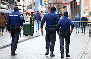 Nov. 22, 2015 - Brussels, BELGIUM - 20151122 - BRUSSELS, BELGIUM: <br /> police , Sunday 22 November 2015, in Brussels. The terrorist threat level was updated to level four, the maximum, in Brussels region, and stays at level three for the rest of the country. Shopping center, main shopping streets, subways and public events are closed and cancelled for the week-end because of the terrorist threat level four. <br /> ©Exclusivepix Media