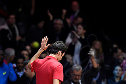 21.11.2014, Stade Pierre Mauroy, Lille, FRA, Davis Cup Finale, Frankreich vs Schweiz, im Bild Roger Federer (SUI) verlaesst den Center Court // during the Davis Cup Final between France and Switzerland at the Stade Pierre Mauroy in Lille, France on 2014/11/21. EXPA Pictures © 2014, PhotoCredit: EXPA/ Freshfocus/ Valeriano Di Domenico<br /> <br /> *****ATTENTION - for AUT, SLO, CRO, SRB, BIH, MAZ only*****