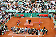 Roland Garros. Paris, France. June 9th 2007..Women's Final..Justine HENIN won against Ana IVANOVIC..From left to right on the podium: Justine HENIN, Mary PIERCE, Christian BIMES and Ana IVANOVIC