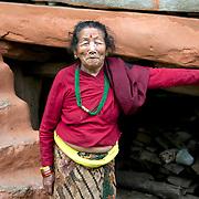 Nepal 2014. Pangma village. Dachema next to her home.