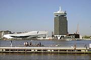 Nederland, the netherlands, Amsterdam, 20-4-2018Stadsgezicht in het centrum van dee stad, eye, het filmmuseum em het kantoorgebouw aan het IJ, lookout .Foto: Flip Franssen