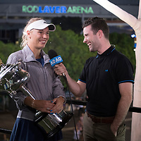 Caroline Wozniacki of Denmark during an interview with AO Live after winning the women's singles championship match during the 2018 Australian Open on day 13 in Melbourne, Australia on Saturday night January 27, 2018.<br /> (Ben Solomon/Tennis Australia)