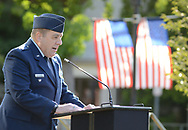 Commander Greg Marston, VFW Post 175 makes remarks during a 9/11 ceremony at the Global War on Terrorism Memorial Monday September 11, 2017 at old Bucks County Courthouse in Doylestown, Pennsylvania. (Photo by William Thomas Cain)