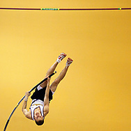 January 16, 2010 - Ithaca student Andrew Brown placed second in the men's pole vaulting event during the RIT Invitational.