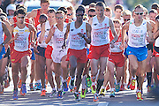 (C) Yared Shegumo and (2R) Henryk Szost both from Poland competes in men's marathon on the start line during the Sixth Day of the European Athletics Championships Zurich 2014 at Letzigrund Stadium in Zurich, Switzerland.<br /> <br /> Switzerland, Zurich, August 17, 2014<br /> <br /> Picture also available in RAW (NEF) or TIFF format on special request.<br /> <br /> For editorial use only. Any commercial or promotional use requires permission.<br /> <br /> Photo by &copy; Adam Nurkiewicz / Mediasport