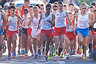 (C) Yared Shegumo and (2R) Henryk Szost both from Poland competes in men's marathon on the start line during the Sixth Day of the European Athletics Championships Zurich 2014 at Letzigrund Stadium in Zurich, Switzerland.<br /> <br /> Switzerland, Zurich, August 17, 2014<br /> <br /> Picture also available in RAW (NEF) or TIFF format on special request.<br /> <br /> For editorial use only. Any commercial or promotional use requires permission.<br /> <br /> Photo by © Adam Nurkiewicz / Mediasport