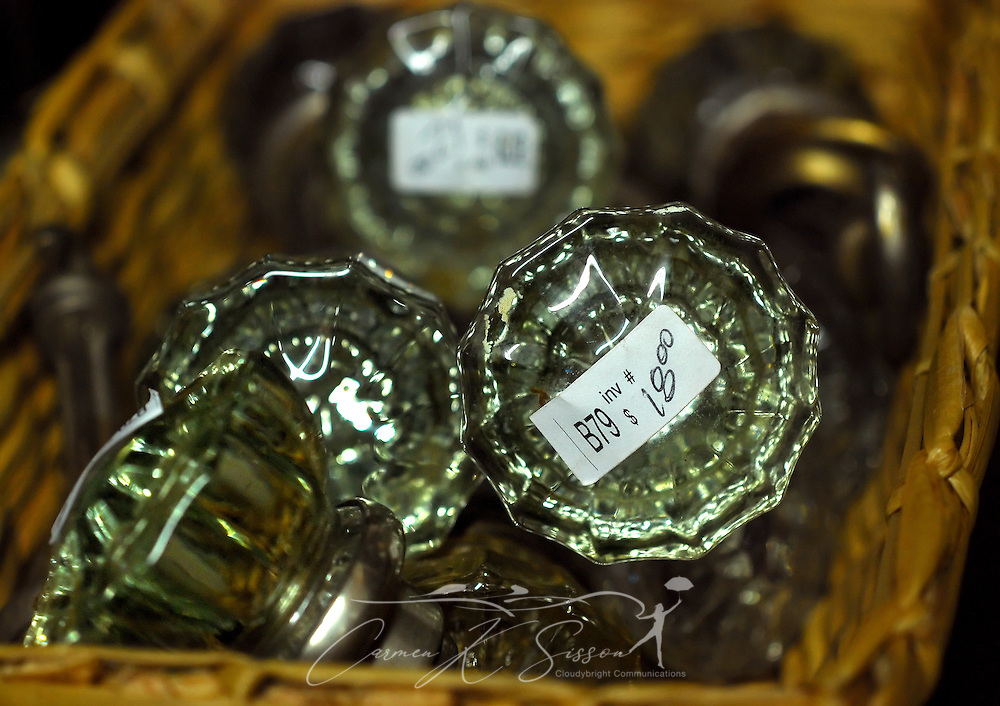 Vintage glass door knobs are displayed in a straw basket on Jan. 9, 2011 at the Antique Mall of Meridian in Meridian, Mississippi. The store is open Mondays through Saturdays from 9 a.m. to 5 p.m. (Photo by Carmen K. Sisson/Cloudybright)