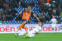 But Lucas Barrios / Mickael Tacalfred - 14.03.2015 - Montpellier / Reims - 29eme journee de Ligue 1<br /> Photo : Andre Delon / Icon Sport
