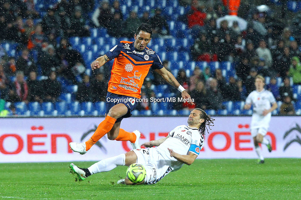But Lucas Barrios / Mickael Tacalfred - 14.03.2015 - Montpellier / Reims - 29eme journee de Ligue 1<br /> Photo : Andre Delon / Icon Sport