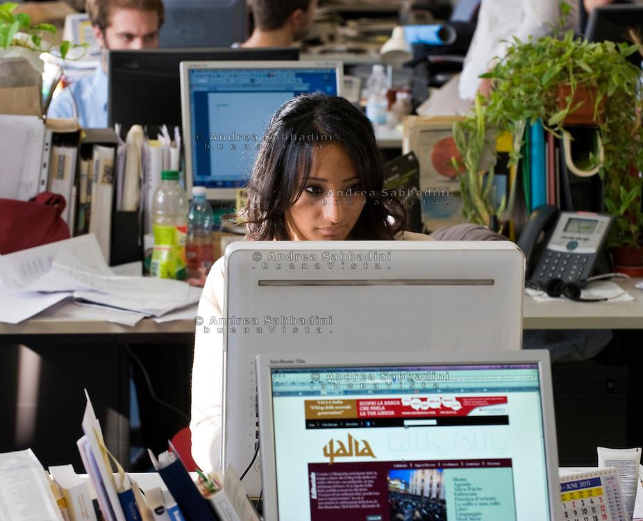 Milano, 08/09/2011: La redazione di Yalla Italia, blog dei giovani mussulmani - The editors of Yalla Italy, blogs of young Muslims<br /> &copy;Andrea Sabbadini
