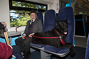 Man and his dog on the Hastings to Turbridge Wells train. 27 September 2018