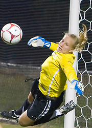 Georgetown Hoyas goalkeeper Jackie DesJardin (00) dives off her line for a save.  The #6 Virginia Cavaliers played the Georgetown Hoyas to a 2-2 draw in a NCAA Women's Soccer pre-season exhibition game held at Klockner Stadium on the Grounds of the University of Virginia in Charlottesville, VA on August 18, 2008.