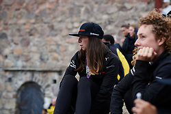 Liane Lippert (GER) anticipates the cannon being fired at Ladies Tour of Norway Team Presentation 2018, in Halden, Norway on August 15, 2018. Photo by Sean Robinson/velofocus.com