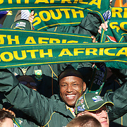South African fans during the South Africa V Australia Quarter Final match at the IRB Rugby World Cup tournament. Wellington Regional Stadium, Wellington, New Zealand, 9th October 2011. Photo Tim Clayton...