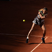 PARIS, FRANCE June 01. Serena Williams of the United States in action against Sofia Kenin of the United States during the Women's Singles third round match on Court Philippe-Chatrier at the 2019 French Open Tennis Tournament at Roland Garros on June 1st 2019 in Paris, France. (Photo by Tim Clayton/Corbis via Getty Images)