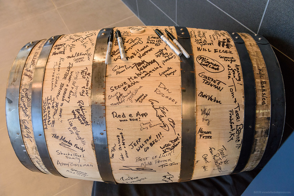 A barrel for signing at Rabbit Hole Distillery, at 711 E. Jefferson Street in NuLu, as they host a ribbon-cutting, grand opening party and a peek inside before opening to the public sometime in June. May 1, 2018