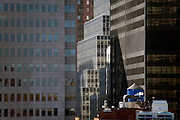 close up of office highrise in downtown Manhattan New York City