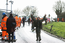 Harefield, UK. 8 February, 2020. Environmental activists arrive to prevent HS2 engineers from carrying out tree felling works for the high-speed rail project alongside Harvil Road in the Colne Valley. The activists, based at a series of wildlife protection camps in the area, prevented the tree felling, for which road and rail closures had been implemented, for the duration of the weekend for which it had been scheduled.