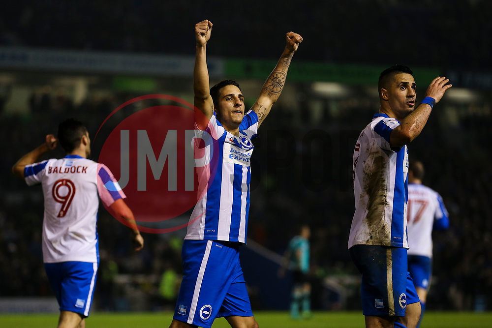 Anthony Knockaert of Brighton & Hove Albion celebrates Sam Baldock of Brighton & Hove Albion goal, Brighton & Hove Albion 2-0 Derby County - Mandatory by-line: Jason Brown/JMP - 10/03/2017 - FOOTBALL - Amex Stadium - Brighton, England - Brighton and Hove Albion v Derby County - Sky Bet Championship