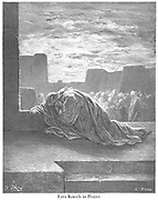 Ezra Kneels in Prayer Ezra 9:6 From the book 'Bible Gallery' Illustrated by Gustave Dore with Memoir of Dore and Descriptive Letter-press by Talbot W. Chambers D.D. Published by Cassell & Company Limited in London and simultaneously by Mame in Tours, France in 1866