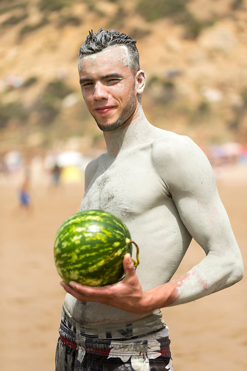 Water Melon fruit seller portrait, Rmilate / Paradise Beach, Asilah, Morocco, 2015-08-09. <br />
