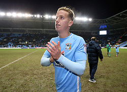 """Coventry City's Jordan Maguire-Drew celebrates victory after the FA Cup, third round match at the Ricoh Arena, Coventry. PRESS ASSOCIATION Photo. Picture date: Saturday January 6, 2018. See PA story SOCCER Coventry. Photo credit should read: Nigel French/PA Wire. RESTRICTIONS: EDITORIAL USE ONLY No use with unauthorised audio, video, data, fixture lists, club/league logos or """"live"""" services. Online in-match use limited to 75 images, no video emulation. No use in betting, games or single club/league/player publications."""