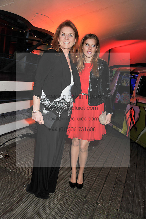 Left to right, SARAH, DUCHESS OF YORK and PRINCESS BEATRICE OF YORK at Gabrielle's Gala an annual fundraising evening in aid of Gabrielle's Angel Foundation for Cancer Research held at Battersea Power Station, London on 2nd May 2013.