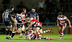 Tom Marshall of Gloucester Rugby makes a challenge - Mandatory by-line: Matt McNulty/JMP - 16/09/2016 - RUGBY - Heywood Road Stadium - Sale, England - Sale Sharks v Gloucester Rugby - Aviva Premiership