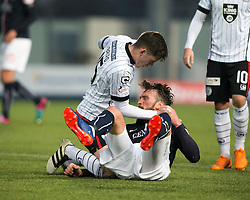 St Mirren's Jack Baird tangles with Falkirk's Lee Miller after a tackle, and recieves a red card. Falkirk 3 v 1 St Mirren, Scottish Championship game played 3/12/2016 at The Falkirk Stadium.