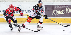 13.12.2015, Tiroler Wasserkraft Arena, Innsbruck, Österreich, EBEL, HC TWK Innsbruck die Haie vs HC Orli Znojmo, 30. Runde, im Bild vl.: David Schuller (HC TWK Innsbruck Die Haie), Jiri Beroun (HC Orli Znojmo) // during the Erste Bank Icehockey League 30th round match between HC TWK Innsbruck  die Haie and HC Orli Znojmo at the Tiroler Wasserkraft Arena in Innsbruck, Austria on 2015/12/13. EXPA Pictures © 2015, PhotoCredit: EXPA/ Jakob Gruber