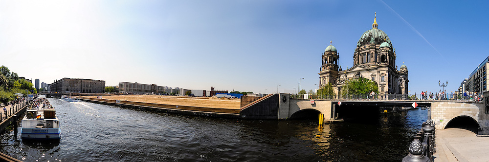 Berlin, Germany. Panorama view of the Museum Island with the Berliner Dom by the river Spree.