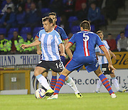 Dundee's Paul McGowan goes away from Inverness Caledonian Thistle's Gary Warren - Inverness Caledonian Thistle v Dundee, SPFL Premiership at Tulloch Caledonian Stadium<br /> <br />  - &copy; David Young - www.davidyoungphoto.co.uk - email: davidyoungphoto@gmail.com